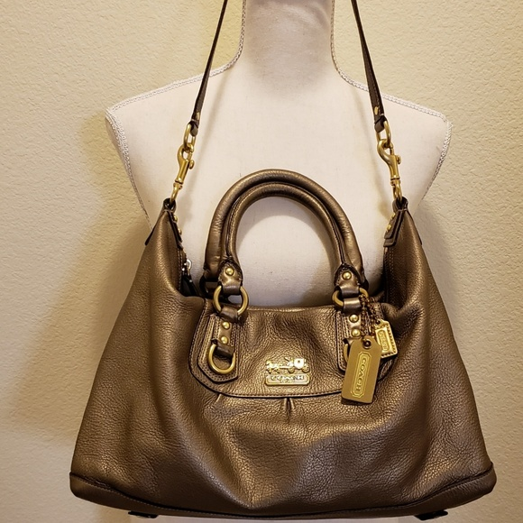 Coach Handbags - Coach Gold Metallic Leather Handbag
